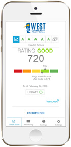 Credit Score posted on our West Community Mobile Banking App