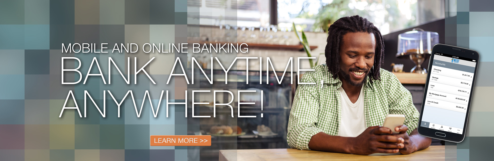 Bank anytime, anywhere with mobile and online banking. Click for details.